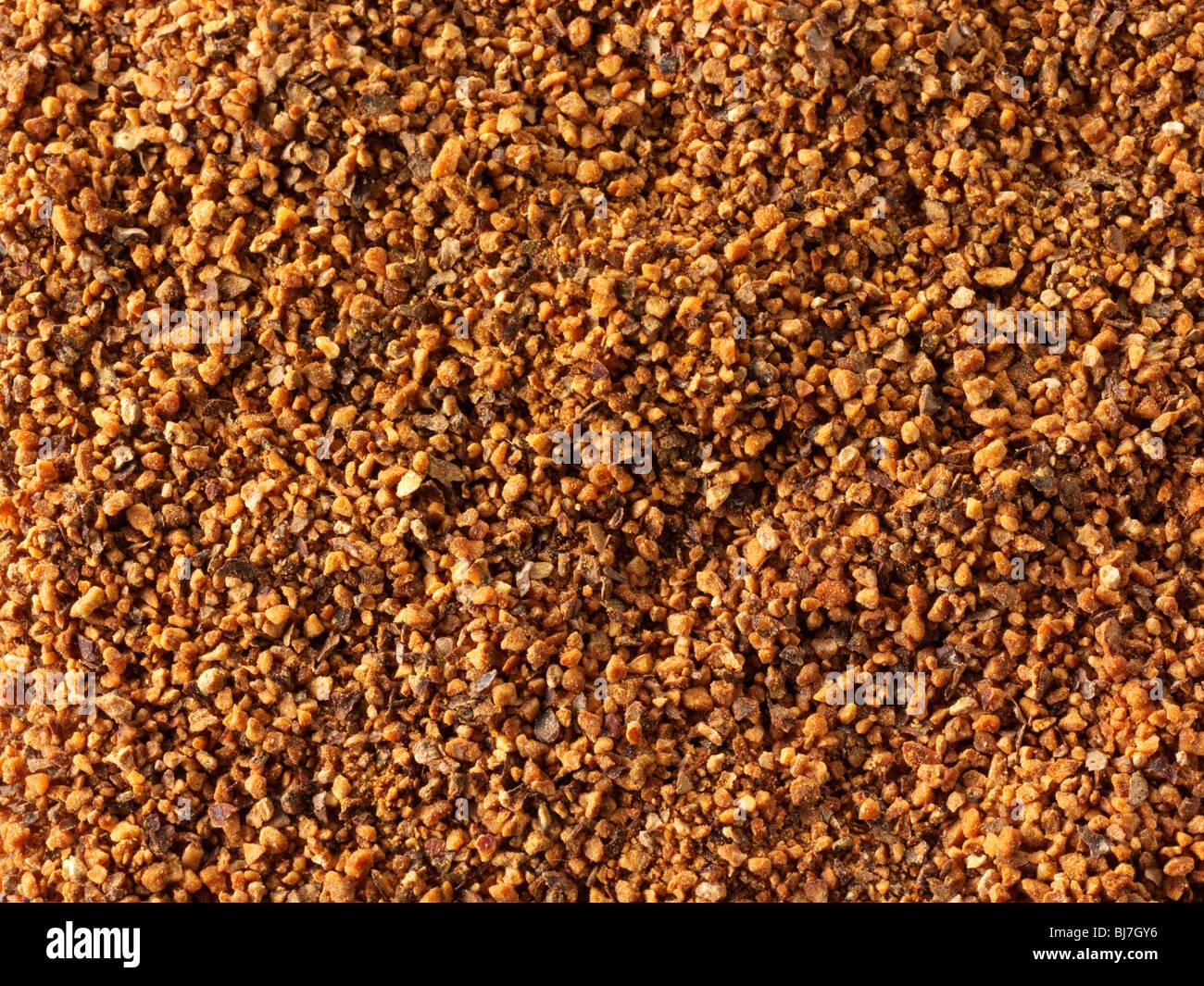 Nuez moscada en polvo, cerca de fotograma completo Foto de stock