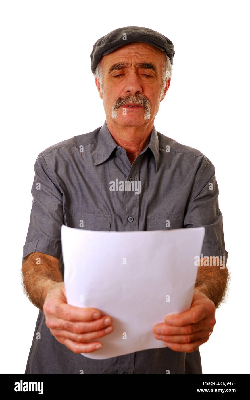 Ancianos largo hombre videntes Foto de stock
