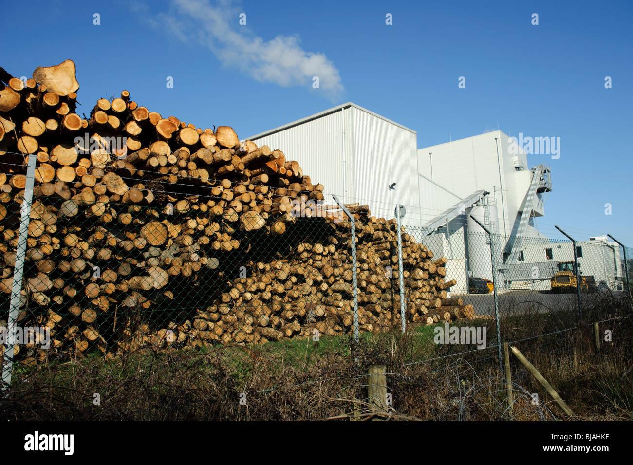 Abastecido de combustible fuera de la planta de energía de biomasa de madera occidental, Margam , South Wales Imagen De Stock