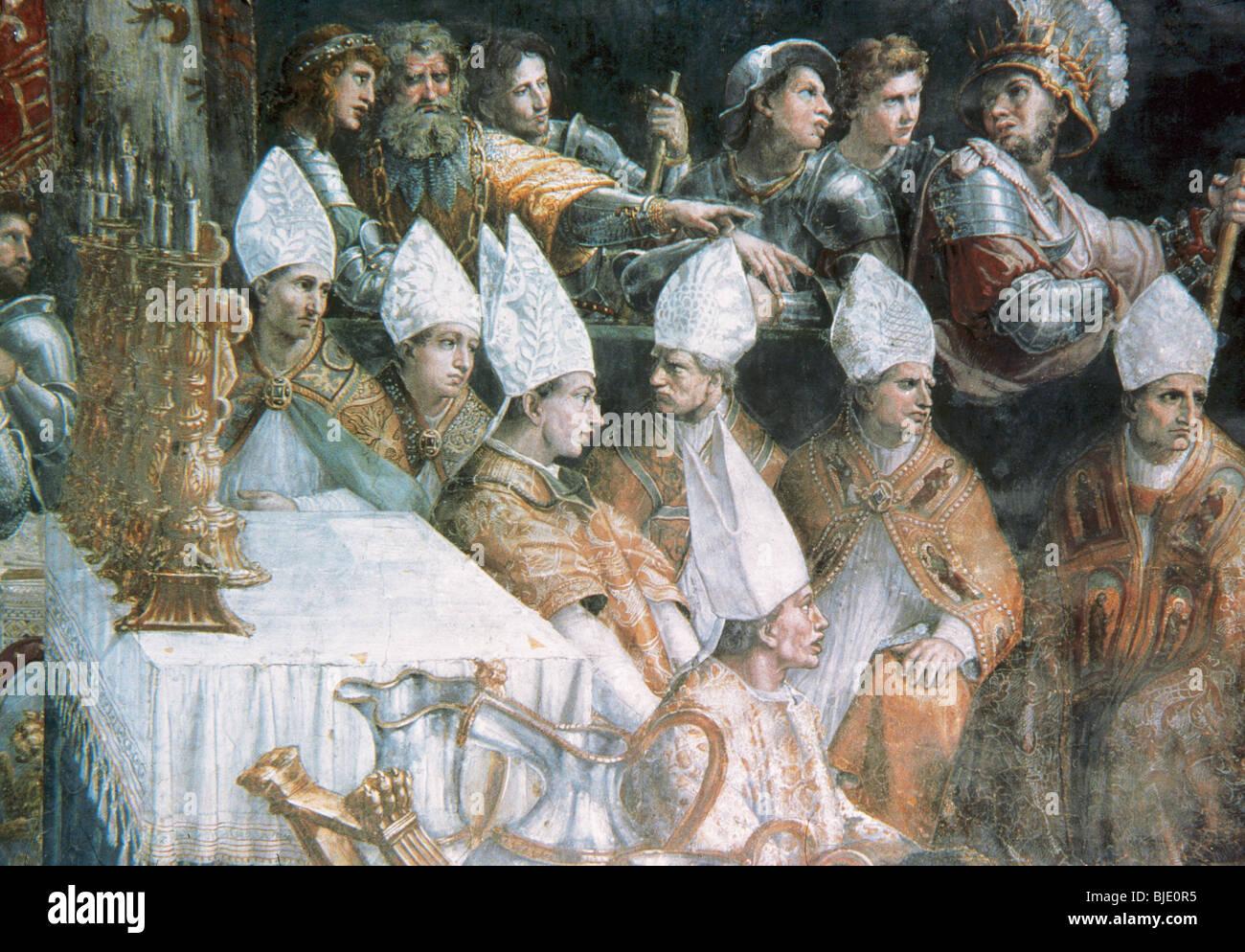 Rafael, Raffaello Santi o Sanzio, llamado (Urbino, 1483-Roma, 1520). Pintor italiano. La coronación de Carlomagno. Imagen De Stock