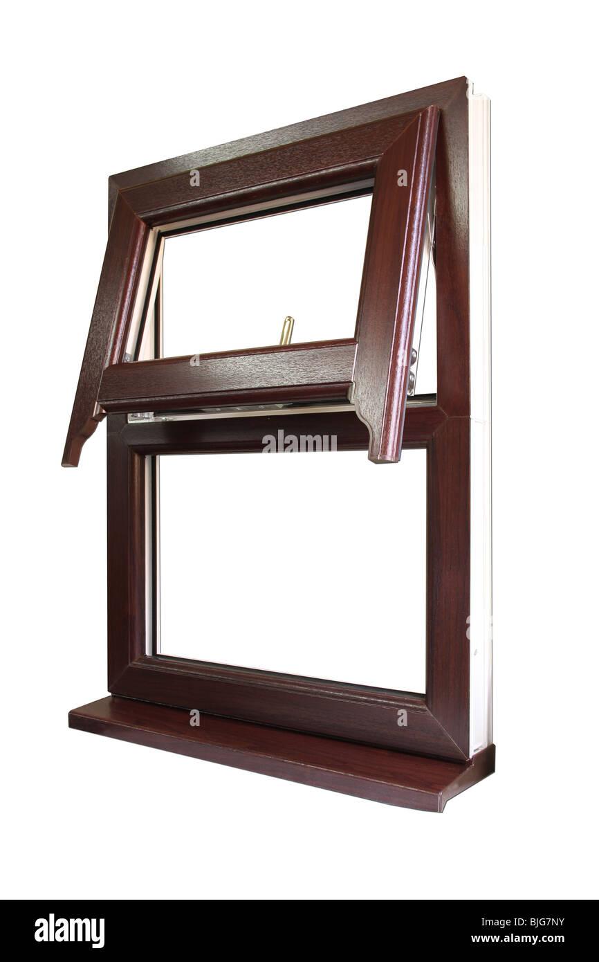 En efecto madera de UPVC ventana Imagen De Stock