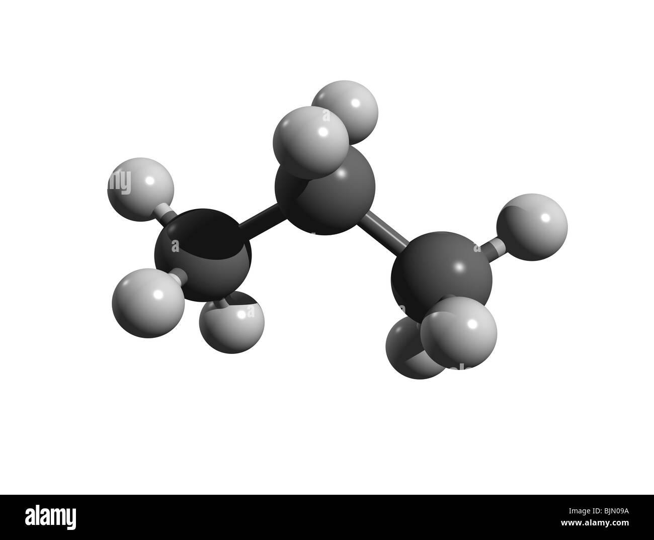 Molécula de propano (colorcode: negro=carbono, Blanco=hidrógeno) Foto de stock