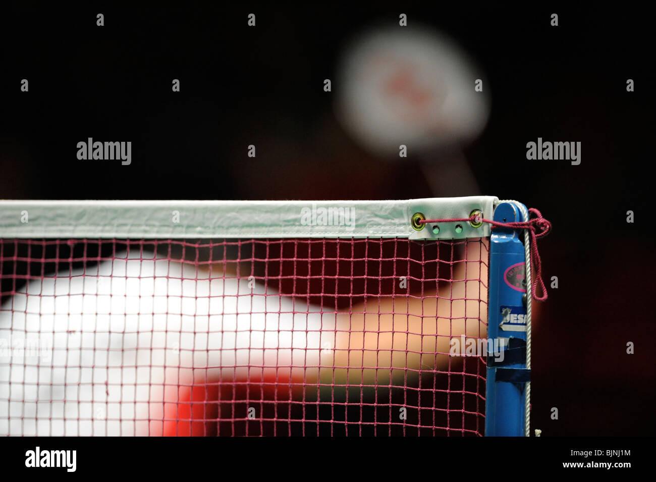 Cerrar detalle de una red de bádminton en los Campeonatos del Mundo. Imagen De Stock
