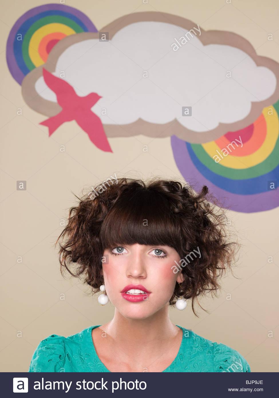 Chica y telón de fondo Imagen De Stock