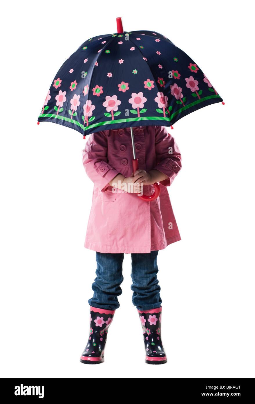 disfruta de un gran descuento moda más deseable recogido Niña (2-3 años) la celebración de paraguas por encima de la ...