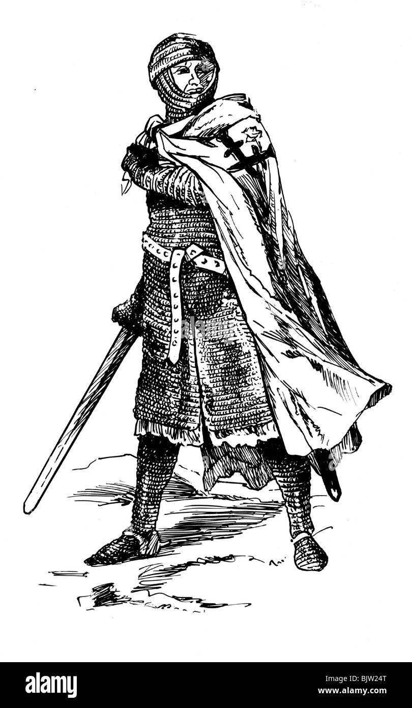 De la Edad Media, los caballeros, caballero de la orden de Livonia, compañeros de armas (Fratres militiae Christi, Imagen De Stock