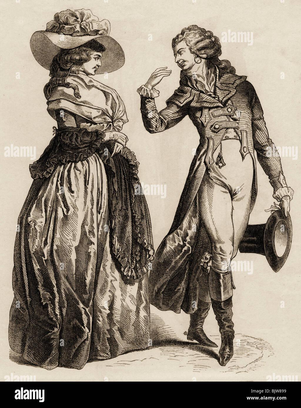 La moda del siglo XVIII, las damas de la moda y la moda masculina, el grabado en madera, de finales del siglo XVIII, Imagen De Stock