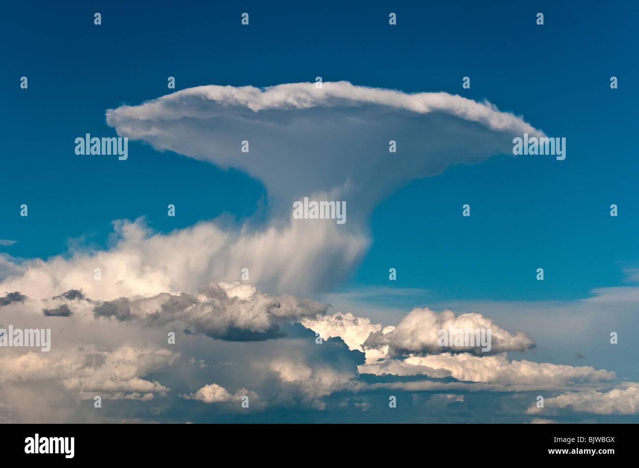 Distant Thunder cloud (Cumulonimbus yunque) erupción en el cielo, cerca de Siena, Toscana, Italia Imagen De Stock