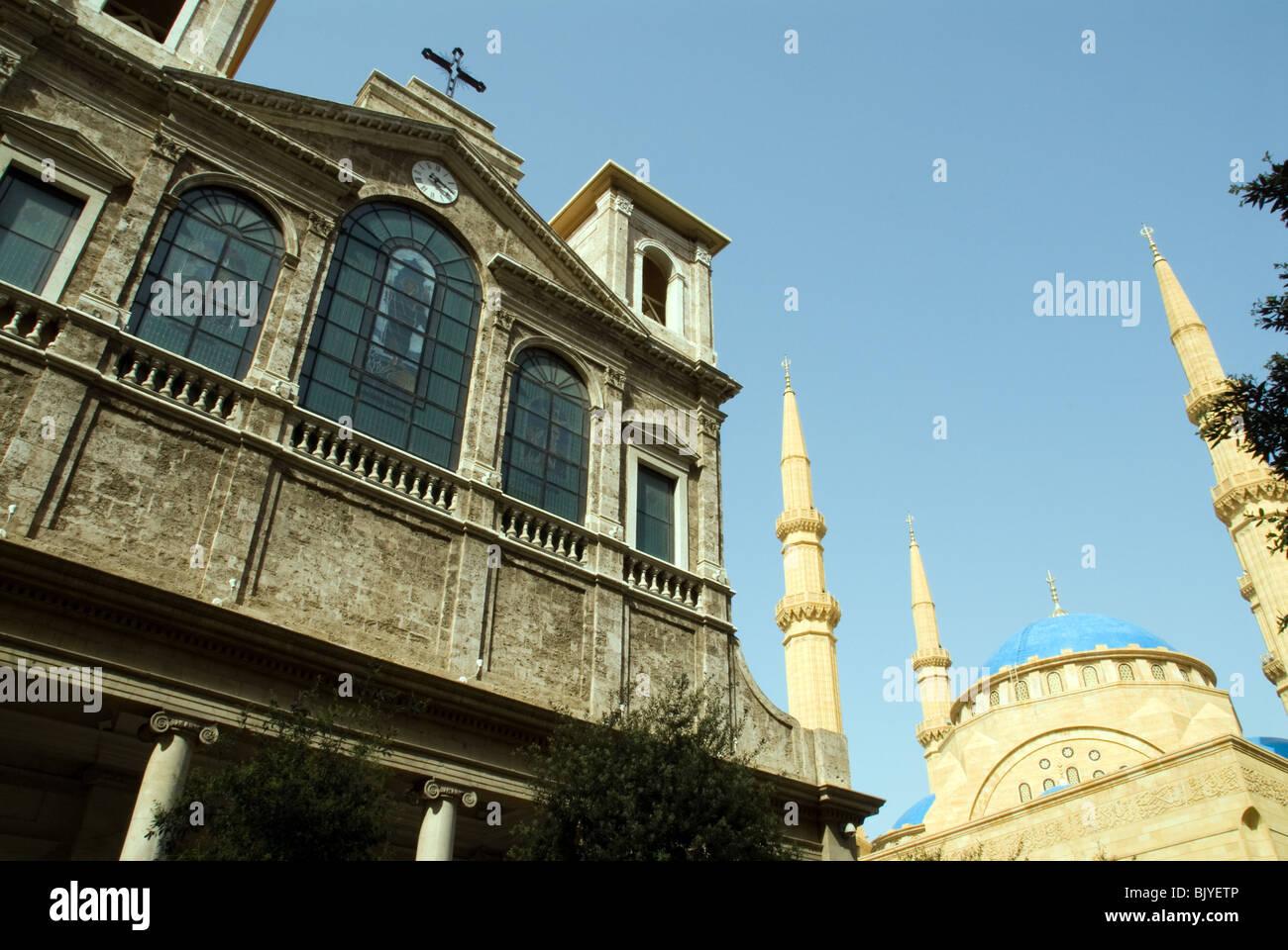 Iglesia y mezquita Beirut, Líbano Imagen De Stock