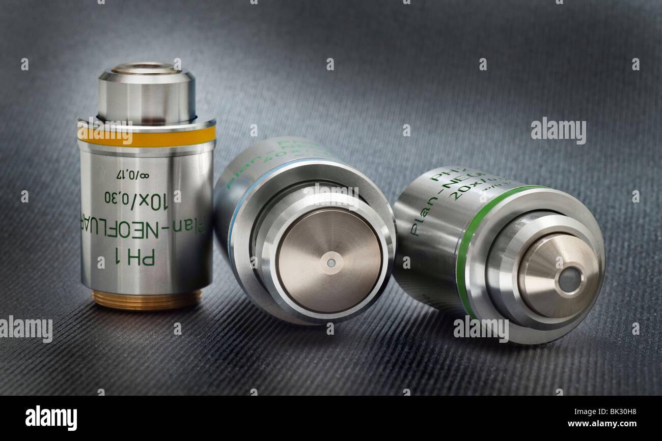 Microscopio Zeiss Plan fluorita Neofluar objetivos, corregida a infinito Imagen De Stock