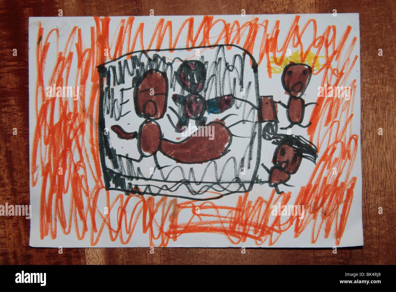 Dibujo De Un Niño Muestra Un Bebé Dentro De Una Casa En Llamas