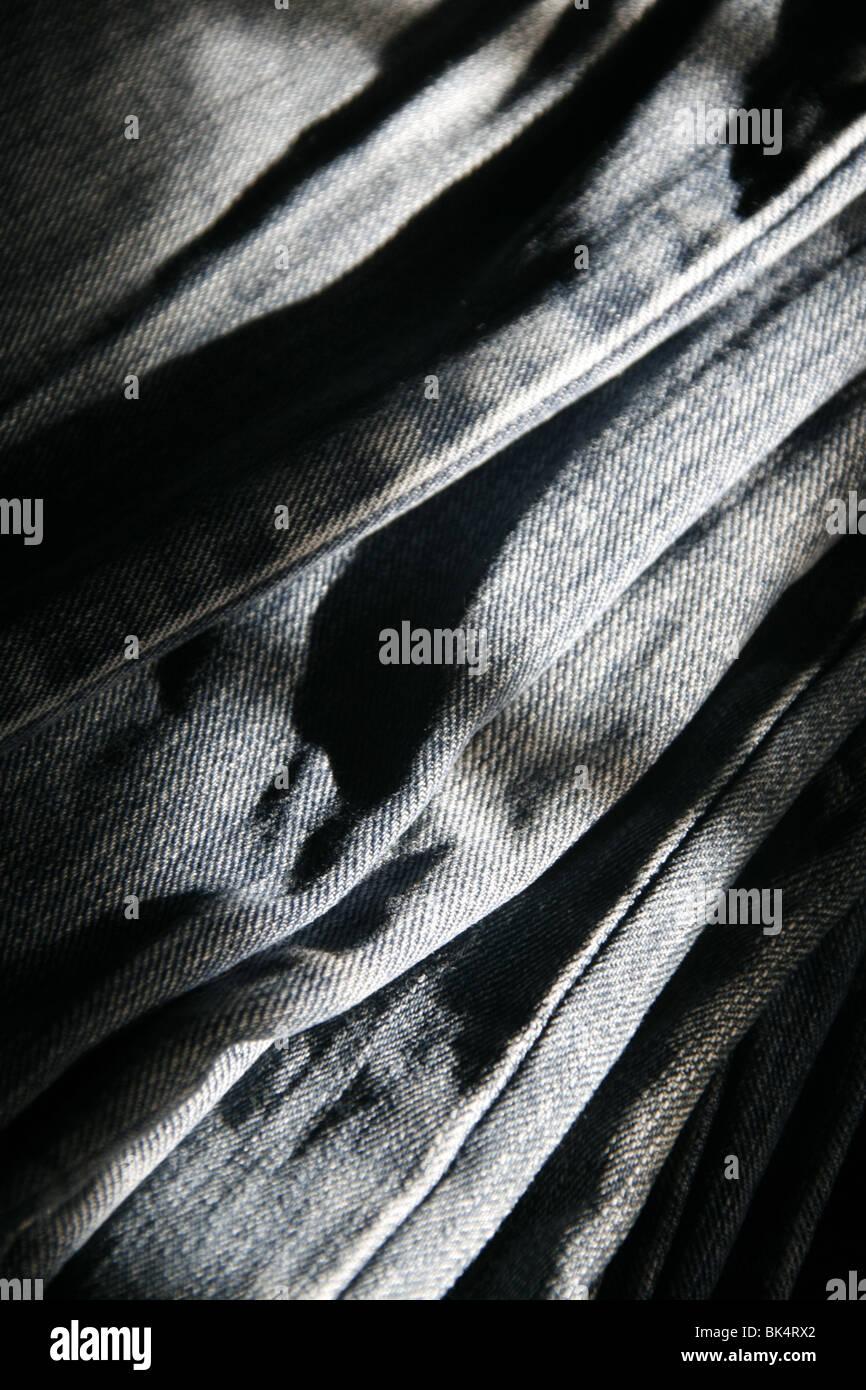 Cerrar detalle de azul denim pantalones vaqueros pantalones Imagen De Stock