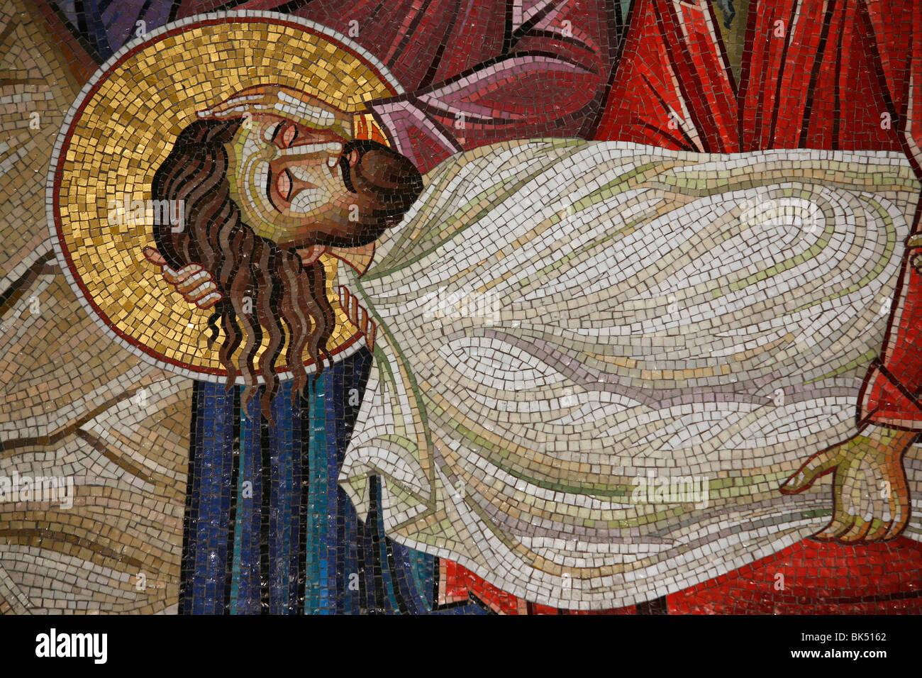 Mosaico de la muerte de Cristo en la Iglesia del Santo Sepulcro, en Jerusalén, Israel, Oriente Medio Foto de stock