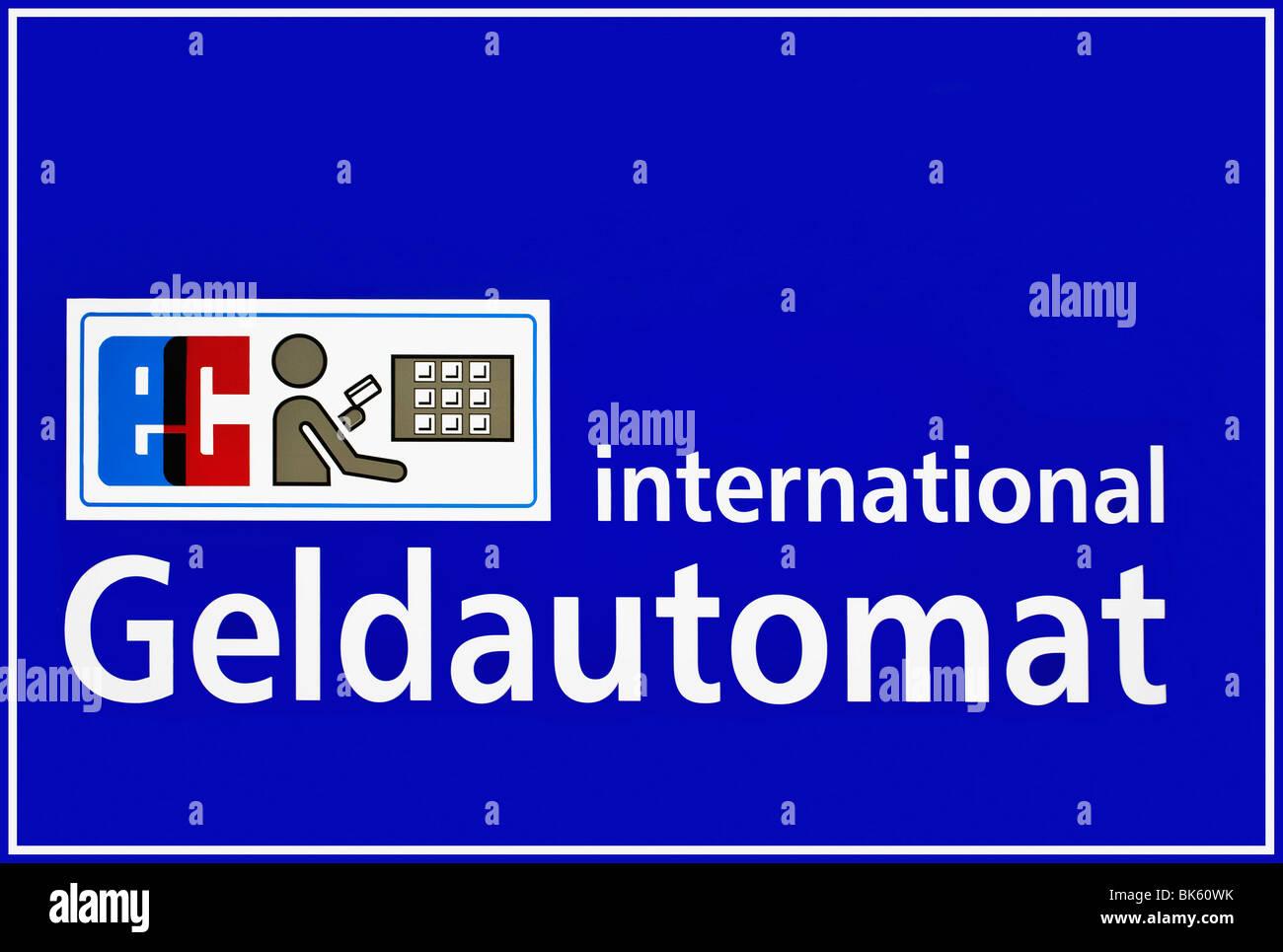 Firmar, EC International ATM con un pictograma, pin pad, efectivo electrónico Imagen De Stock
