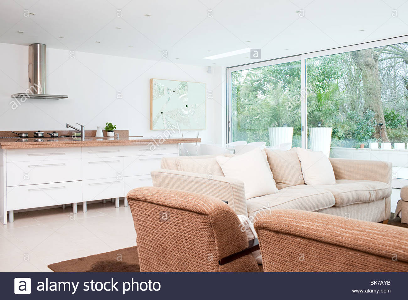 Plan abierto salón y cocina Imagen De Stock