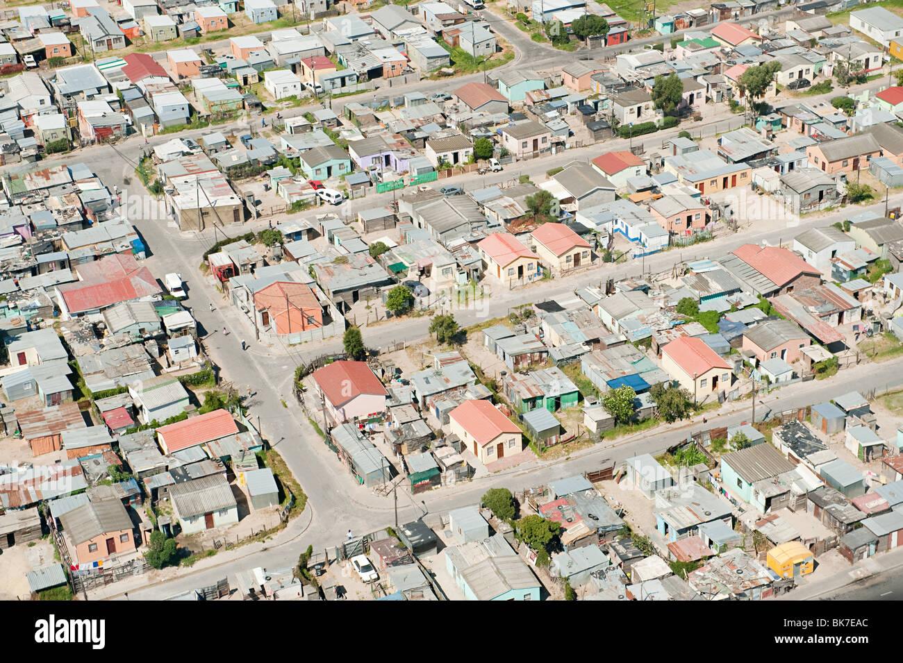 Vista aérea del poblado de chabolas de Cape Town Foto de stock