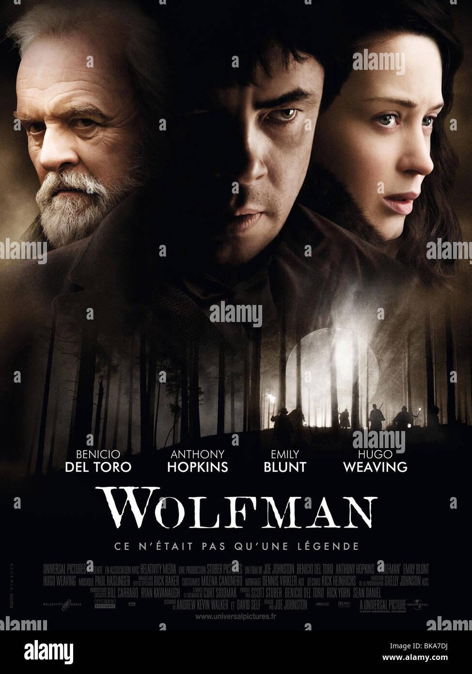 El Wolfman Año : 2010 Director : Joe Johnston Anthony Hopkins, Benicio Del Toro, Emma Romo póster de película Imagen De Stock
