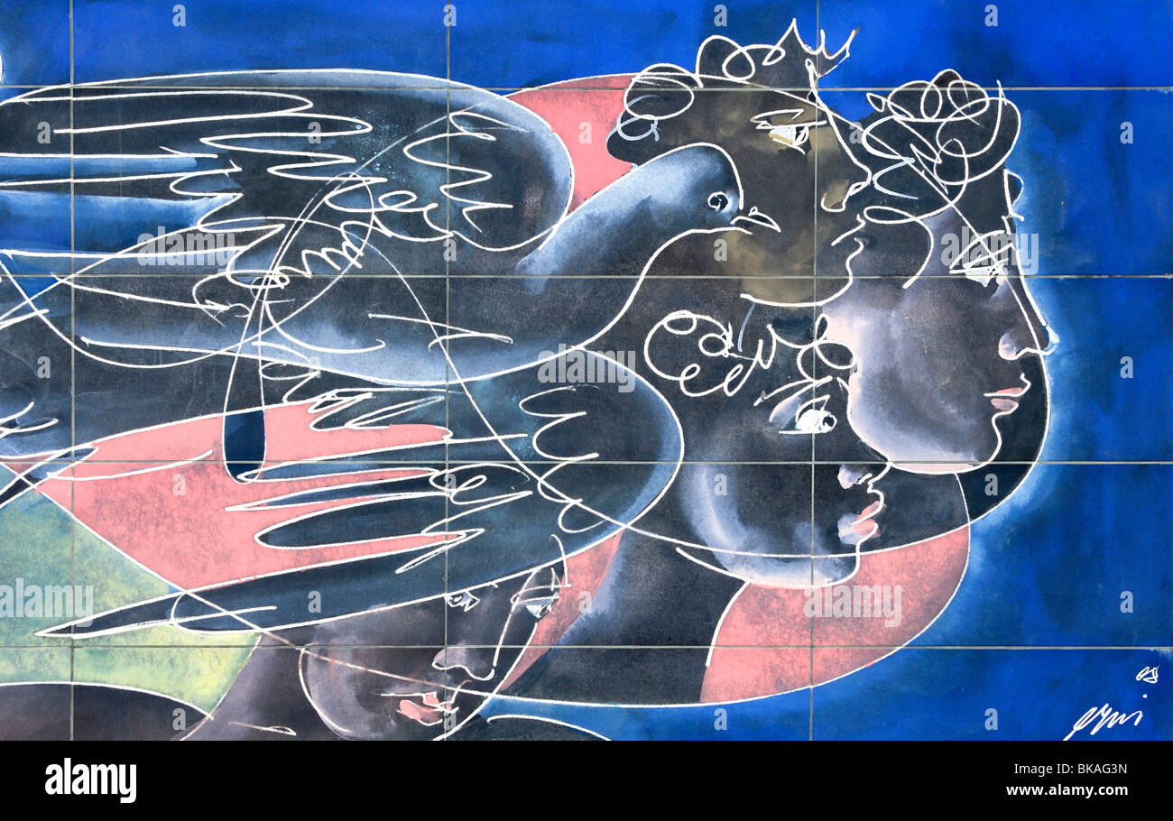 Mural Ta panta rei por el artista suizo Hans Erni, Ginebra, Suiza. Imagen De Stock