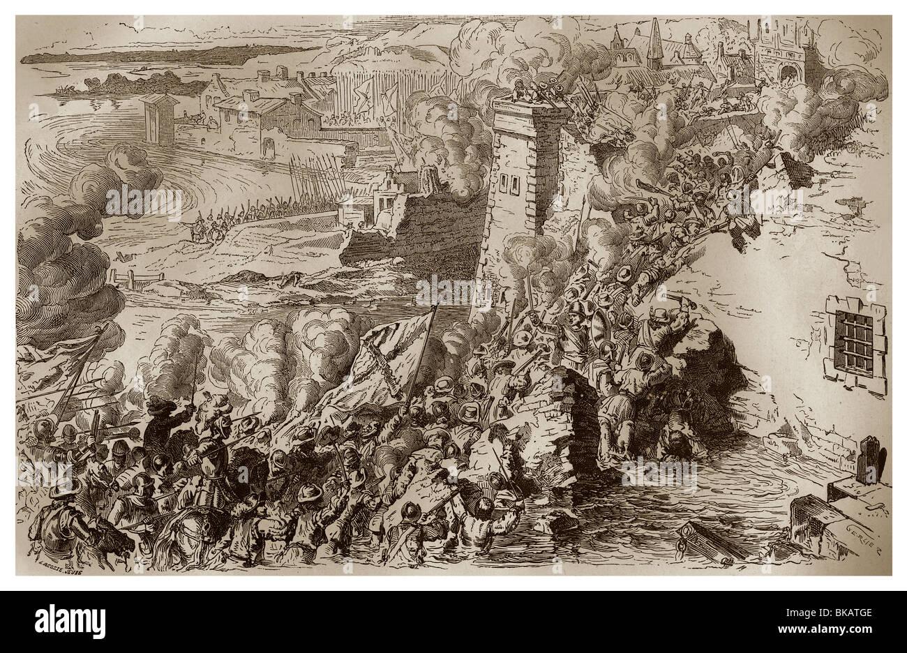 En septiembre de 1590, el asalto de Lagny por Alexander Farnese para proporcionar suministros frescos con la ciudad Foto de stock