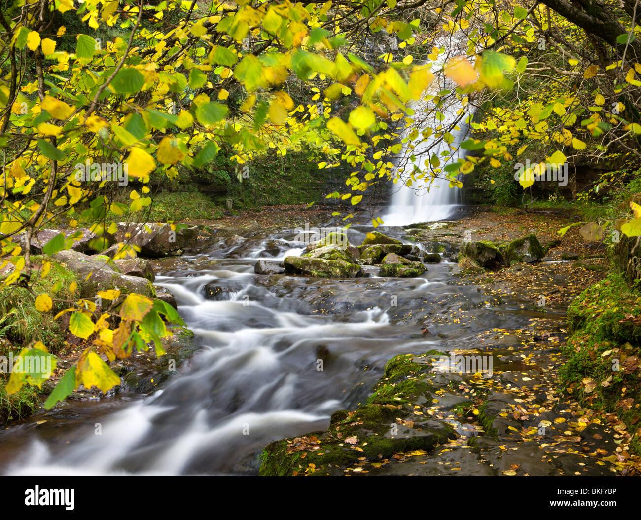 Cascada en el río Caerfanell en Blaen-y-Glyn, el Parque Nacional de Brecon Beacons, Powys, Gales, Reino Unido. Otoño (Octubre) 2009 Foto de stock