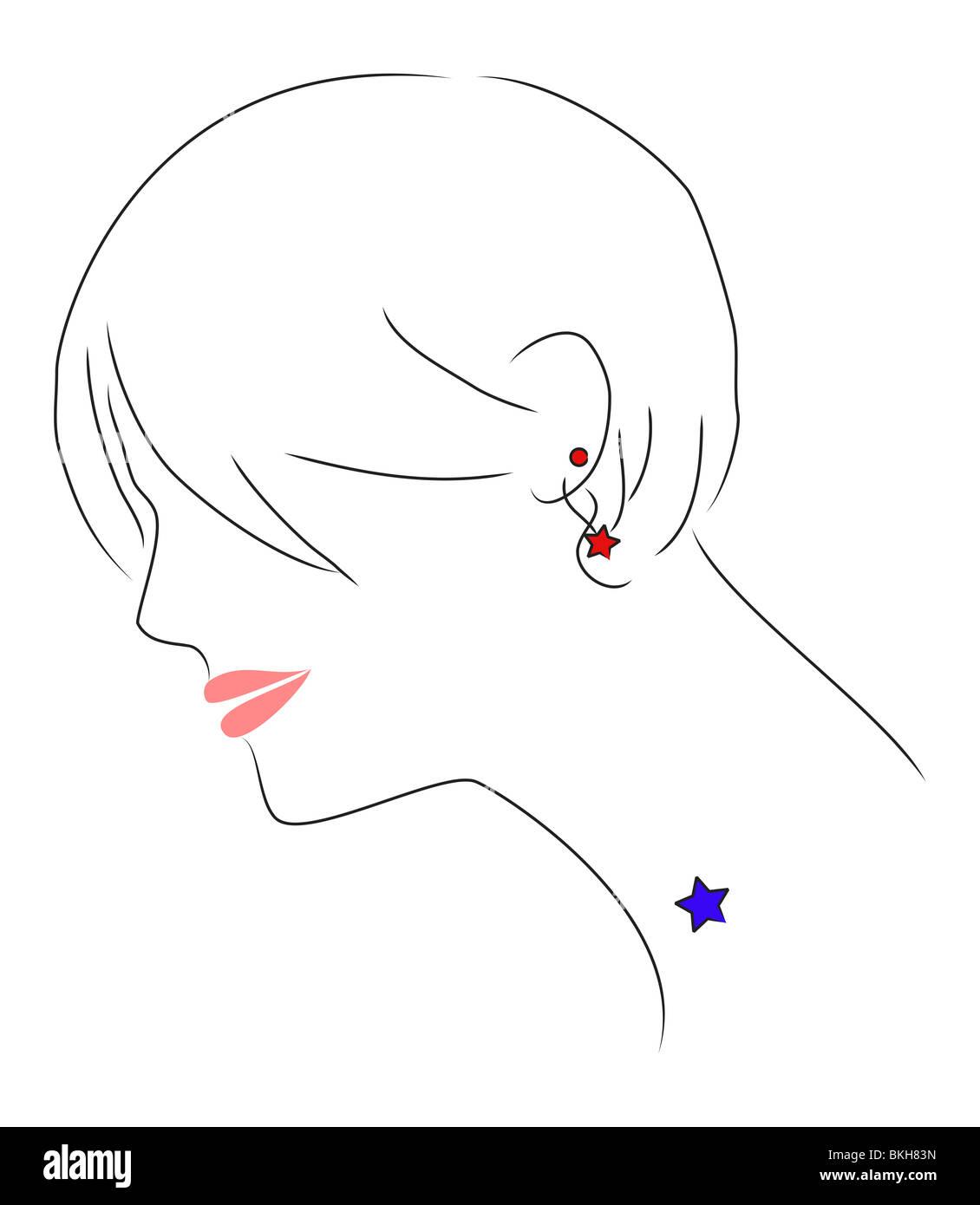 Una ilustración de una hermosa muchacha con cabello desordenado. Ella tiene un tatuaje de estrellas. Imagen De Stock
