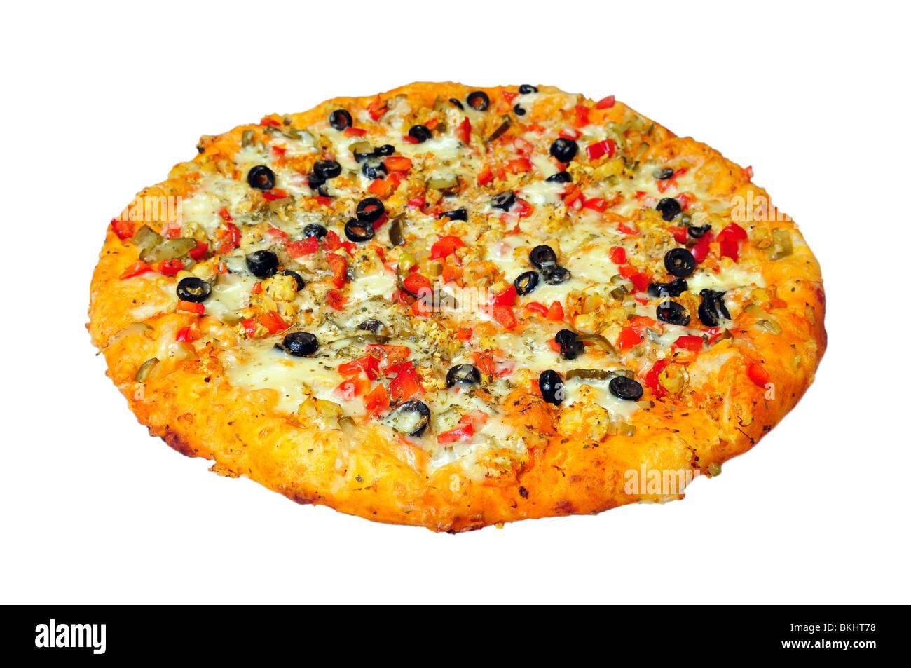 Pizza redonda aislado en blanco Imagen De Stock