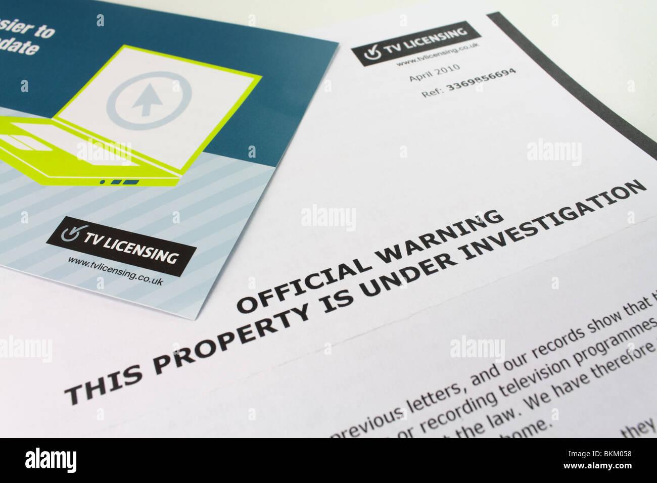 Carta de advertencia oficial de la autoridad de licencias de televisión Imagen De Stock
