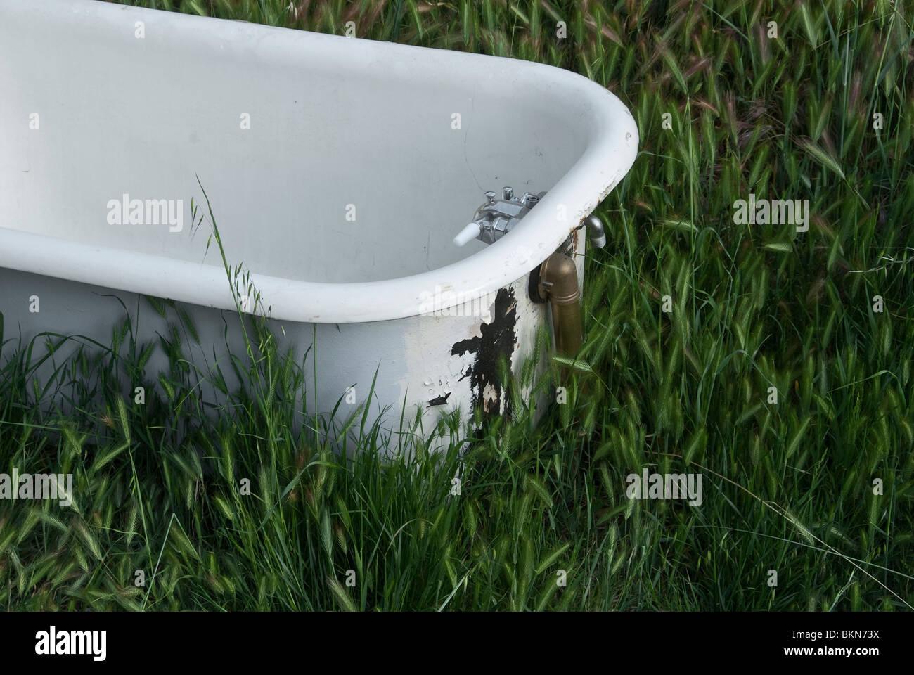 La bañera se encuentra en un campo de hierba. Imagen De Stock