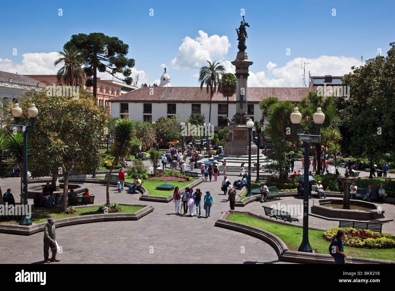 Ecuador, la Plaza de la independencia en la vieja ciudad de Quito. Imagen De Stock