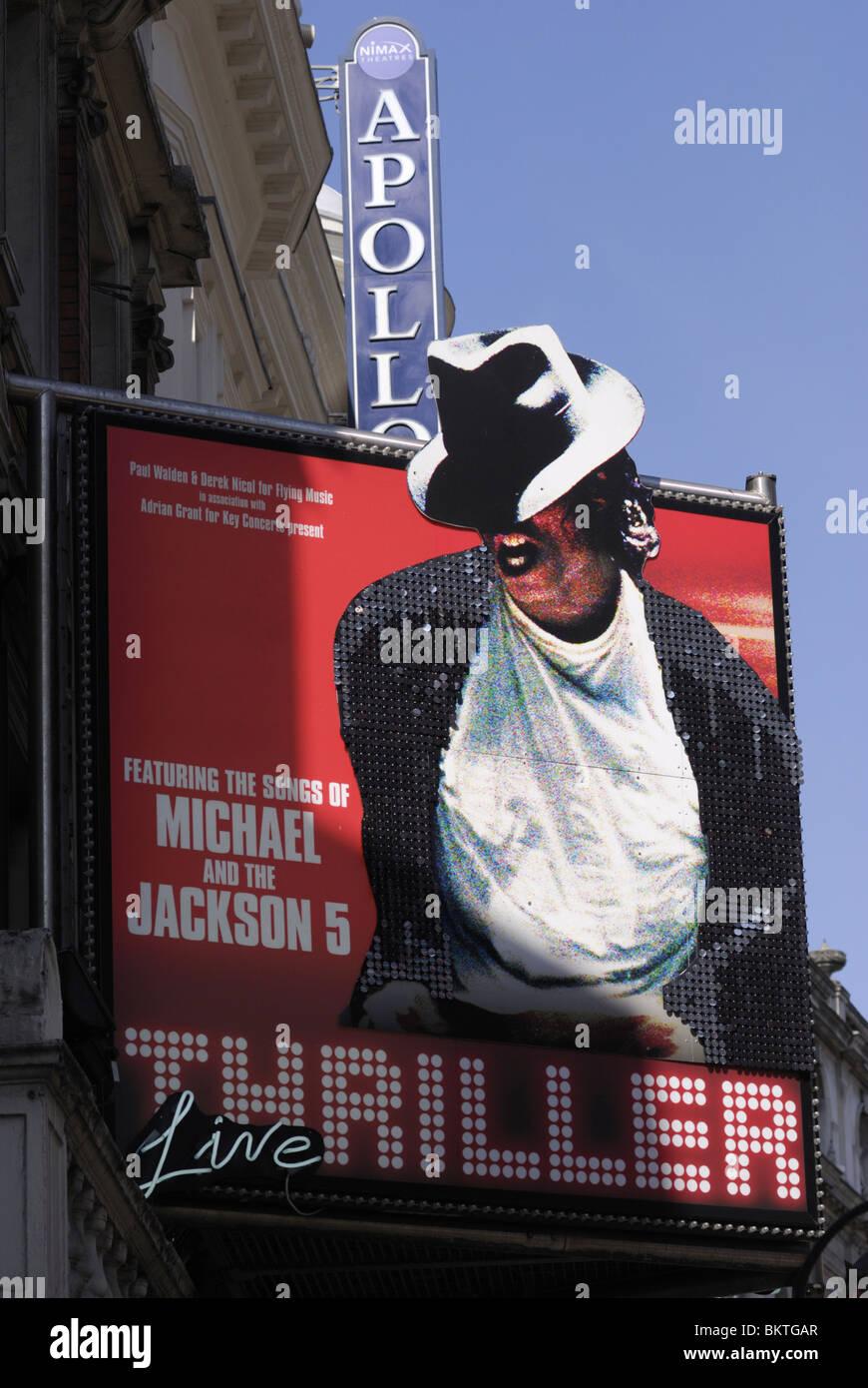 Thriller-Live signo Musical en el Teatro Lírico, Shaftesbury Avenue, Londres, Inglaterra, Reino Unido. Imagen De Stock