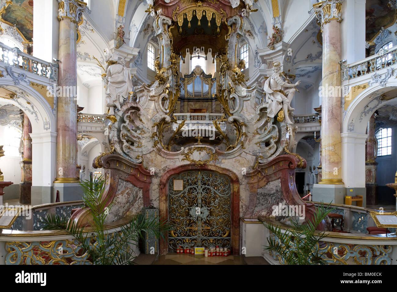 Altar en la iglesia de peregrinación de los catorce Santos, cerca de Bad Staffelstein Wallfahrtskirche Vierzehnheiligen, Imagen De Stock
