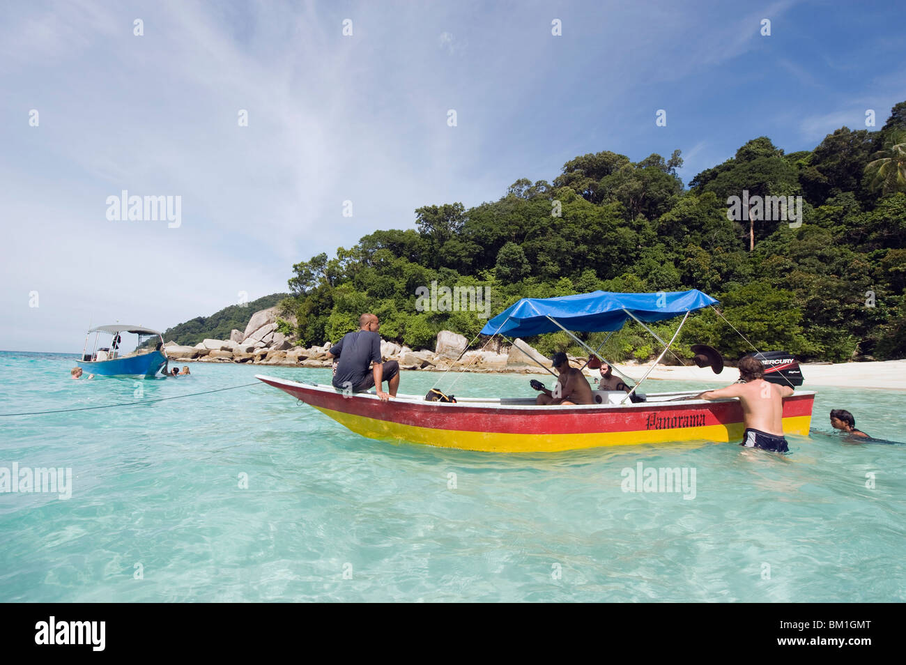 Viaje en barco en las islas Perhentian, Estado de Terengganu, Malasia, Sudeste Asiático, Asia Foto de stock