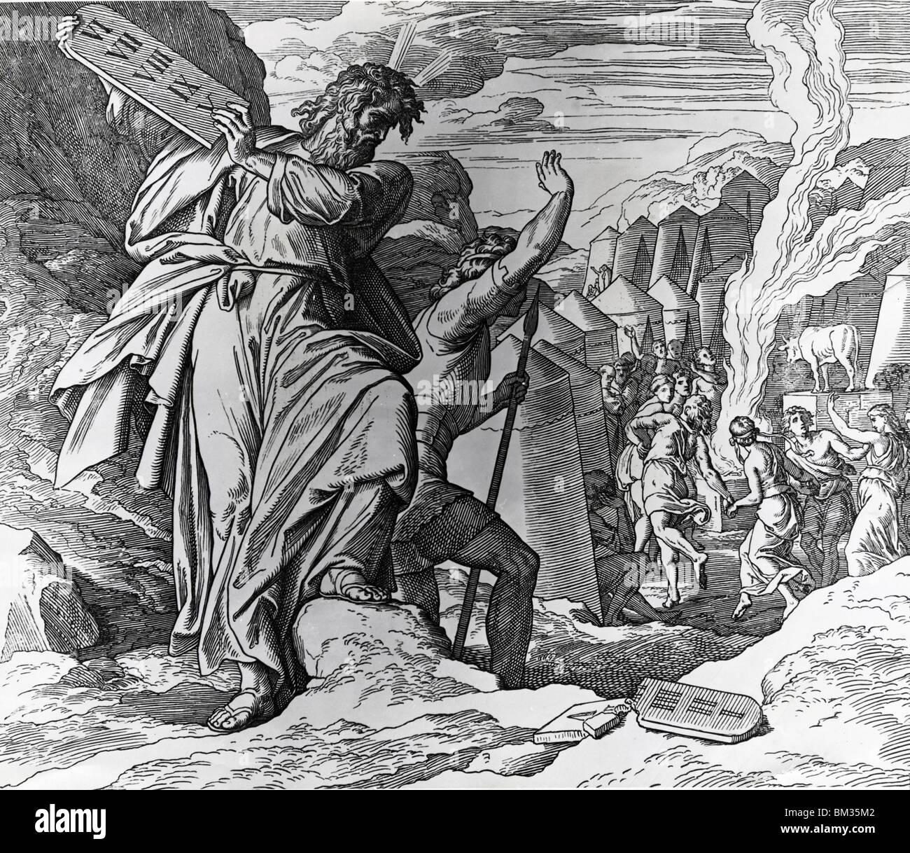 Moisés rompe las tablas de la ley por Julius Schnorr von Carolsfeld, (1794-187) Foto de stock