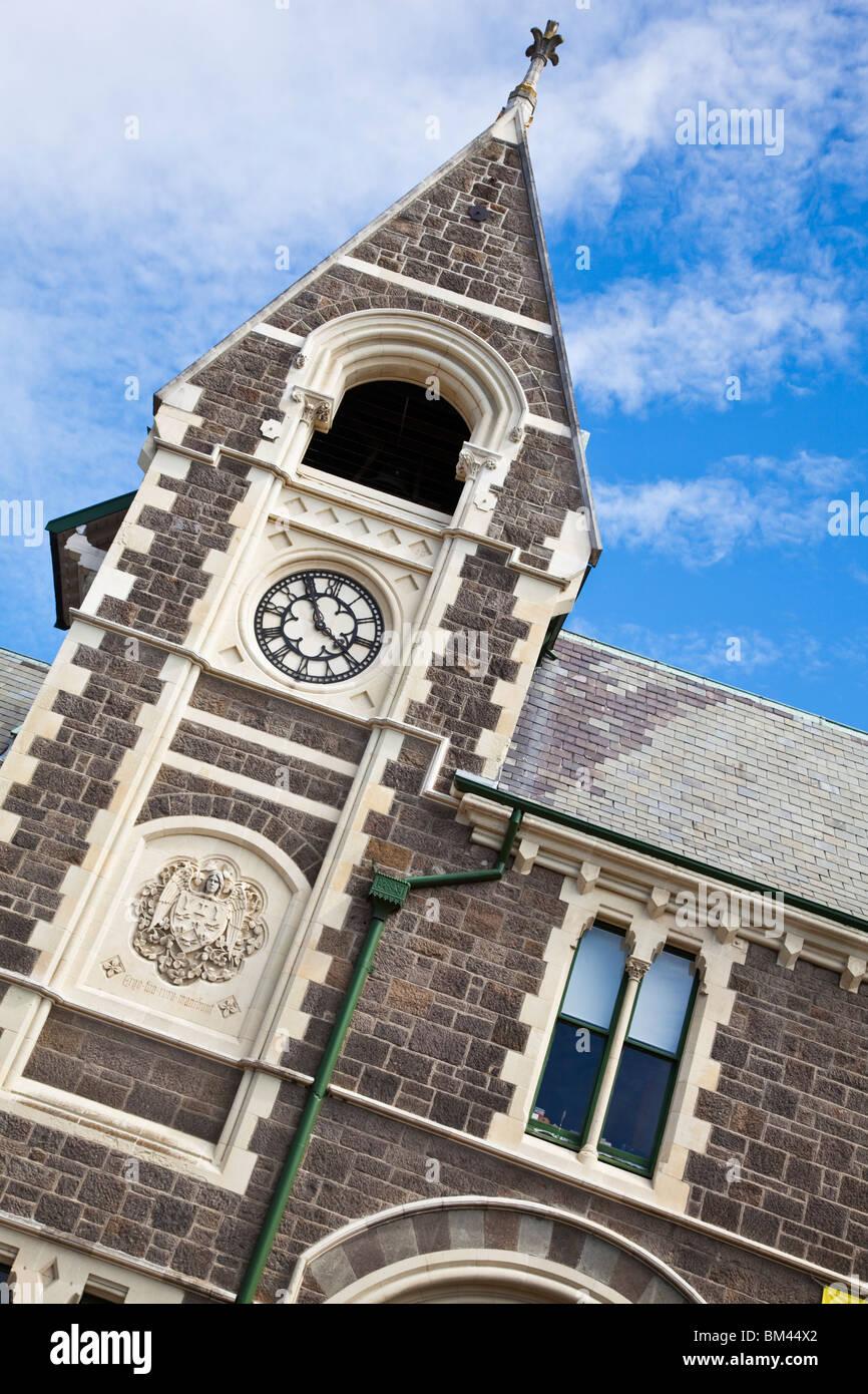 La arquitectura gótica del Centro de Artes, antiguamente el Canterbury College. Christchurch, Canterbury, Isla Imagen De Stock