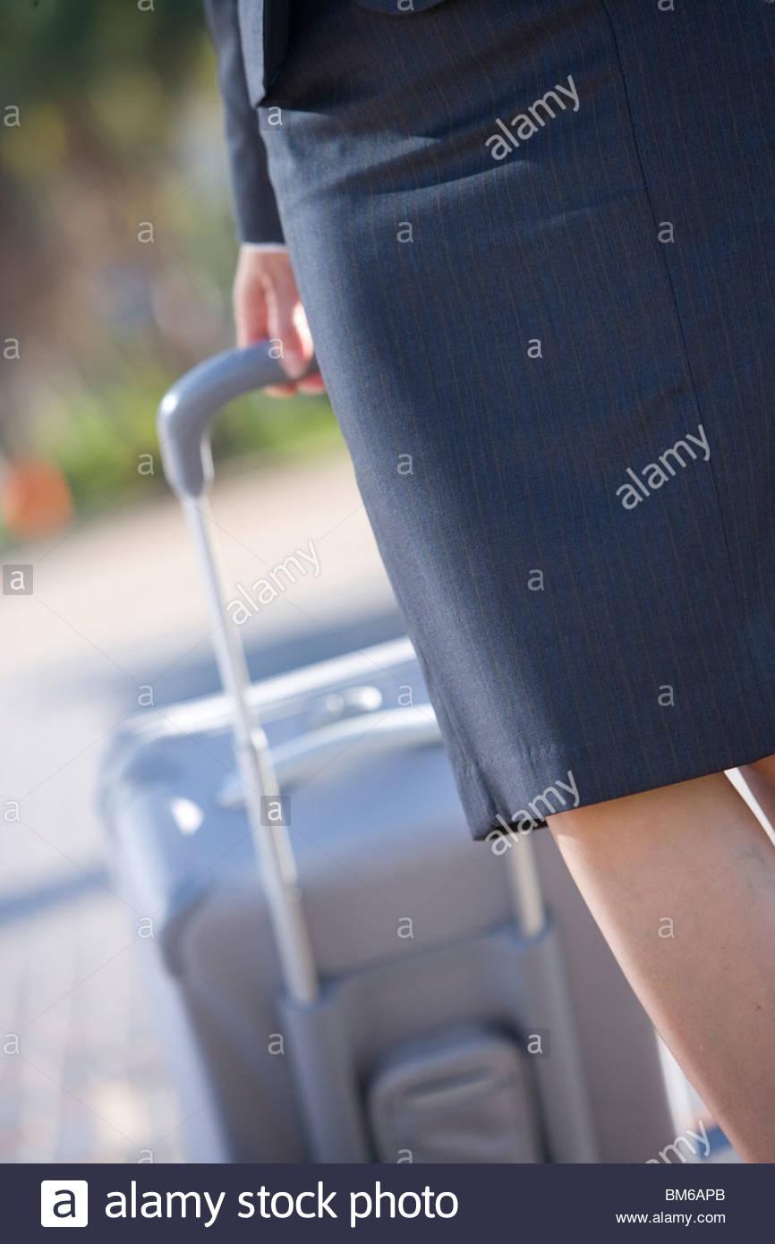 Sección media de la empresaria tirando de un carrito de equipaje Imagen De Stock