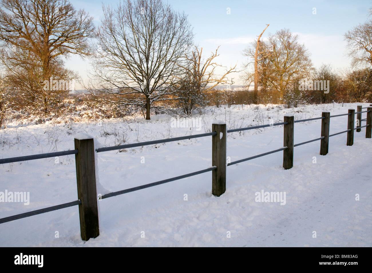 Un sendero cubierto de nieve con una valla Foto de stock