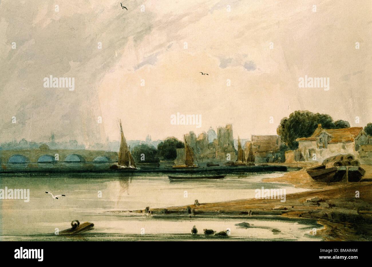 Palacio de Lambeth y Westminster Bridge, por F.L.T. Francia. Londres, Inglaterra, del siglo XIX. Imagen De Stock