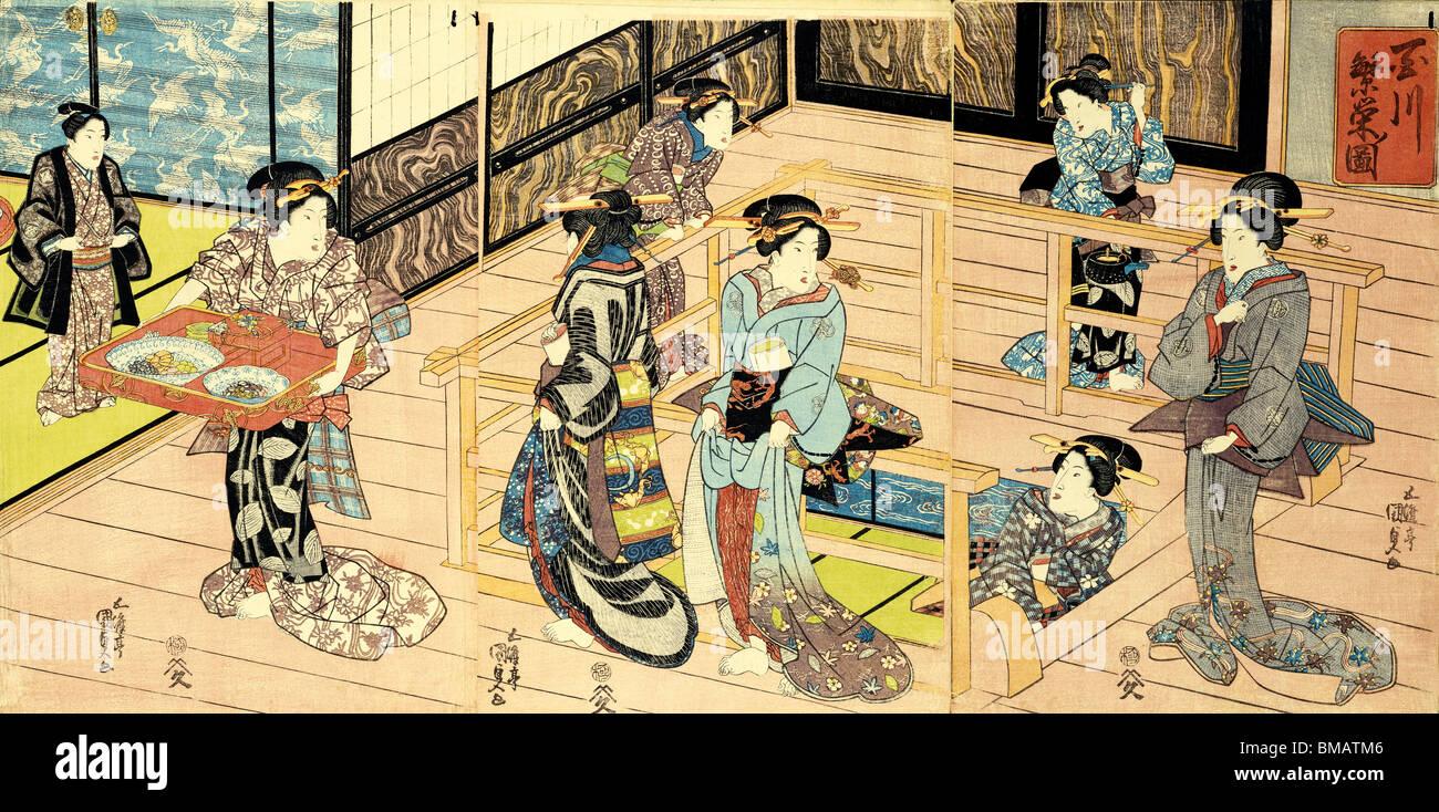 Vista interior de un restaurante, por Utagawa Kunisada. Grabado en madera. Japón, c.1820 Imagen De Stock