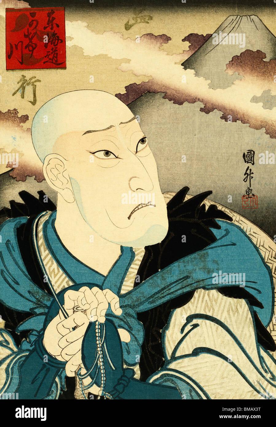 Actor como el sacerdote, por Utagawa Kunimasa Saigyottoshi. Japón, siglo XX. Imagen De Stock