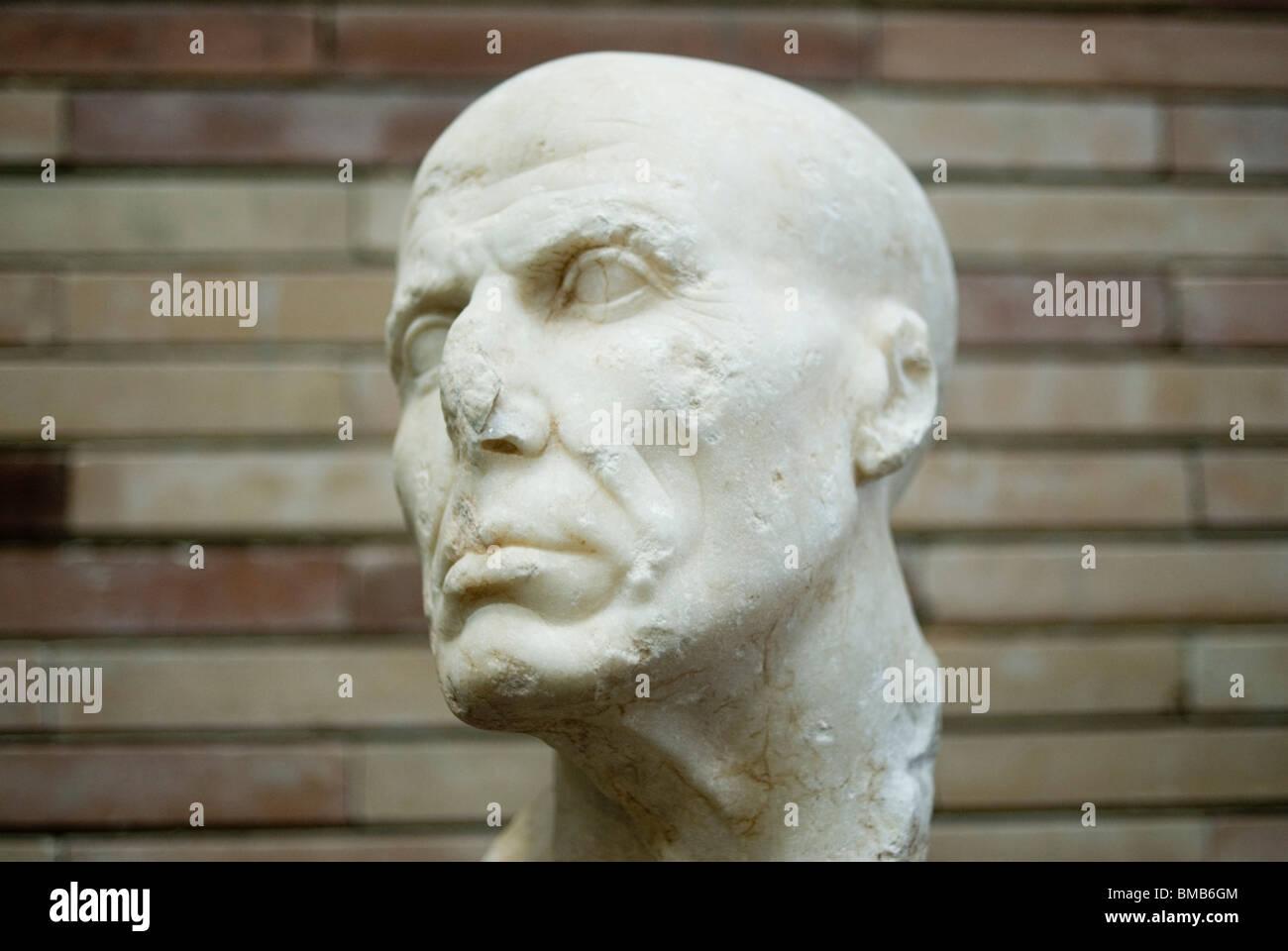 Retrato de un hombre. Ist C. BC. Museo Nacional de Arte Romano de Mérida. Extremadura. España. Imagen De Stock
