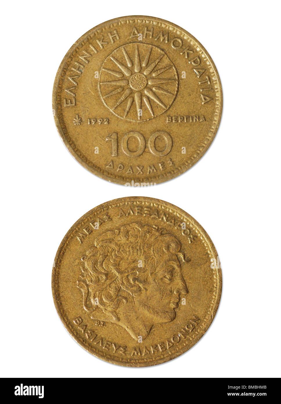 100 Drachmen Grecia antigua dinero Foto de stock
