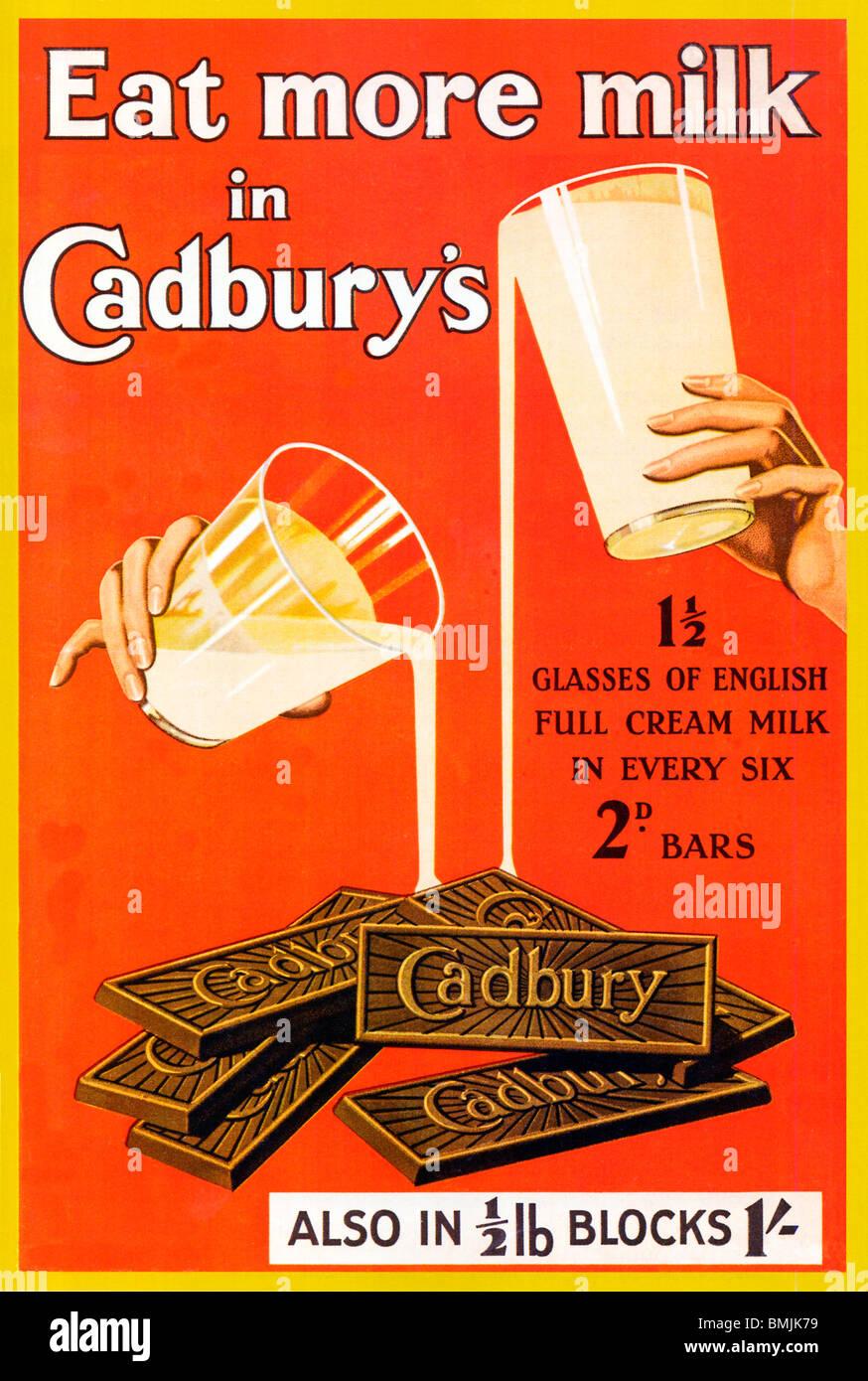Comer más leche en Cadbury's, 1920 cartel del inglés barras de chocolate y manzanas Imagen De Stock
