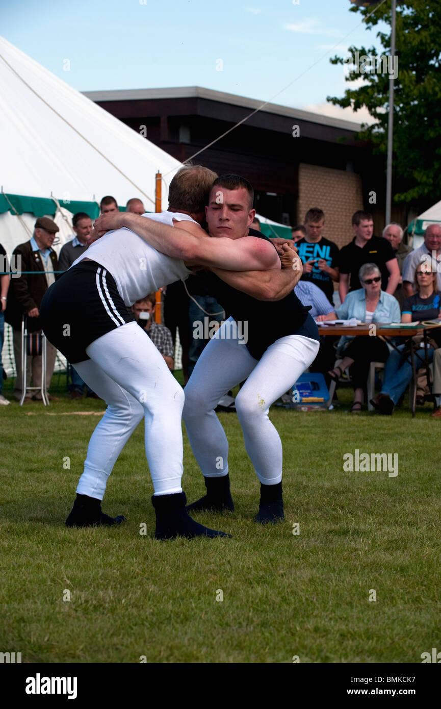 Cumberland y Westmoreland Wrestling concurso en el Condado de Northumberland Show en Corbridge Imagen De Stock