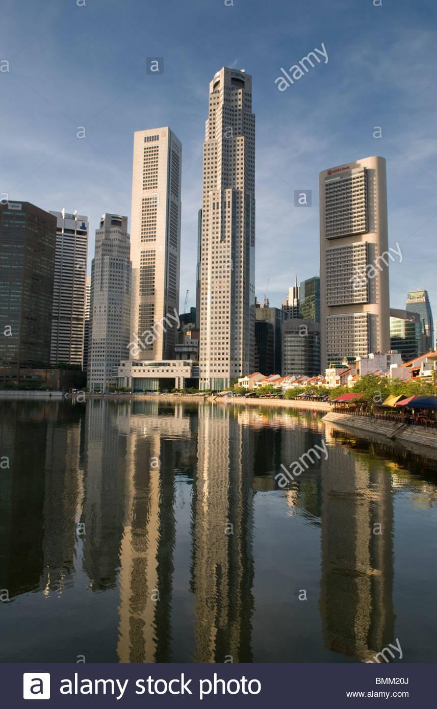 El distrito central de negocios y Boat Quay Singapur Imagen De Stock