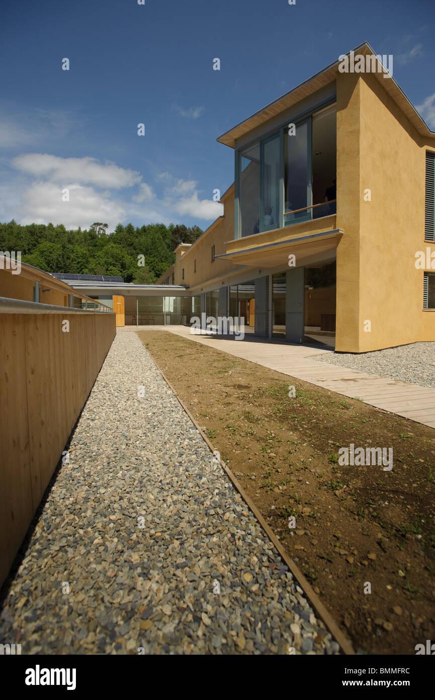 El nuevo edificio inteligente (Gales Centro de Educación Sostenible) Centro de Tecnologías Alternativas, Gales, Foto de stock