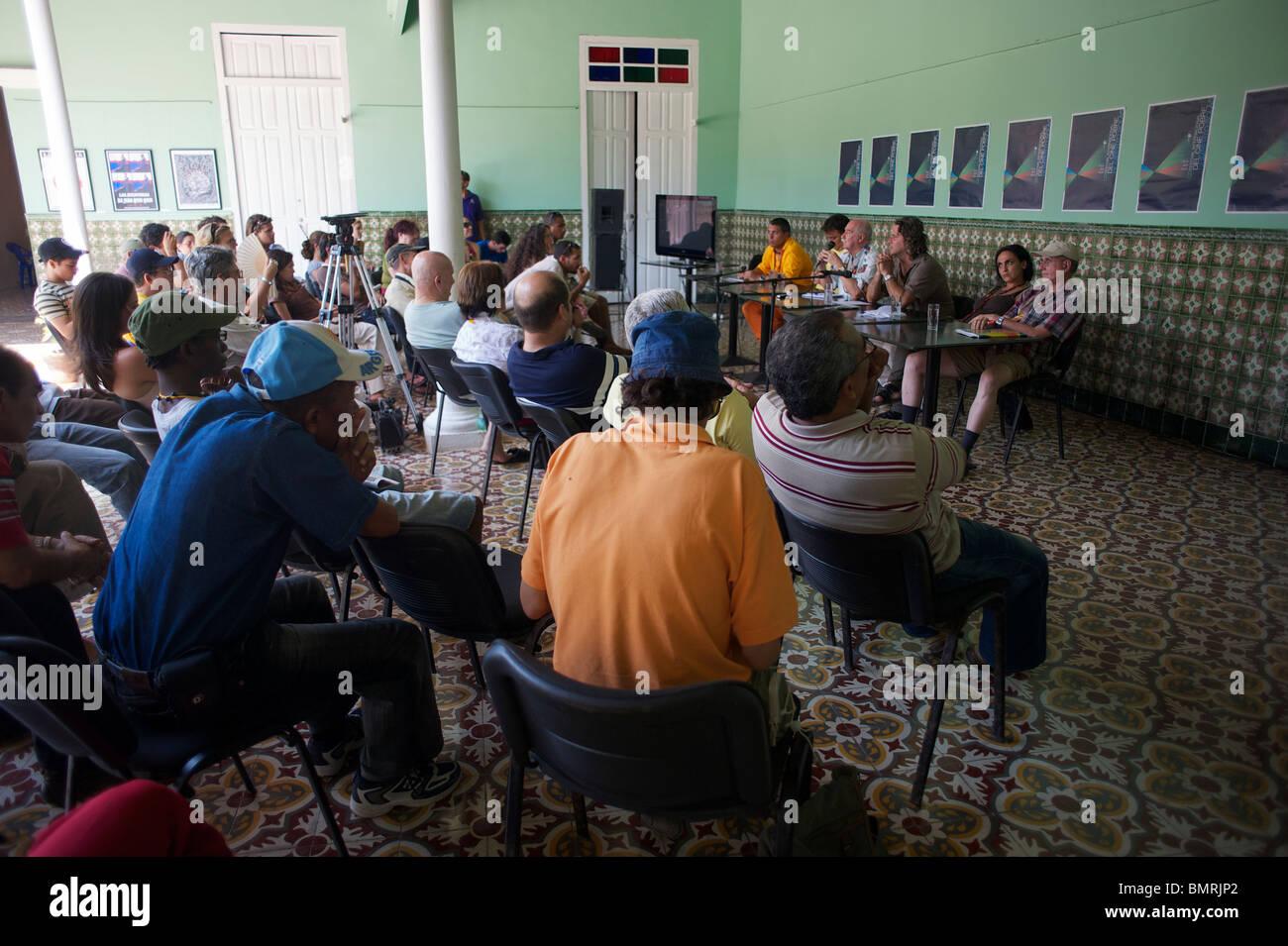 Seminario en el Festival del Cine Pobre, Gibara, Cuba Imagen De Stock