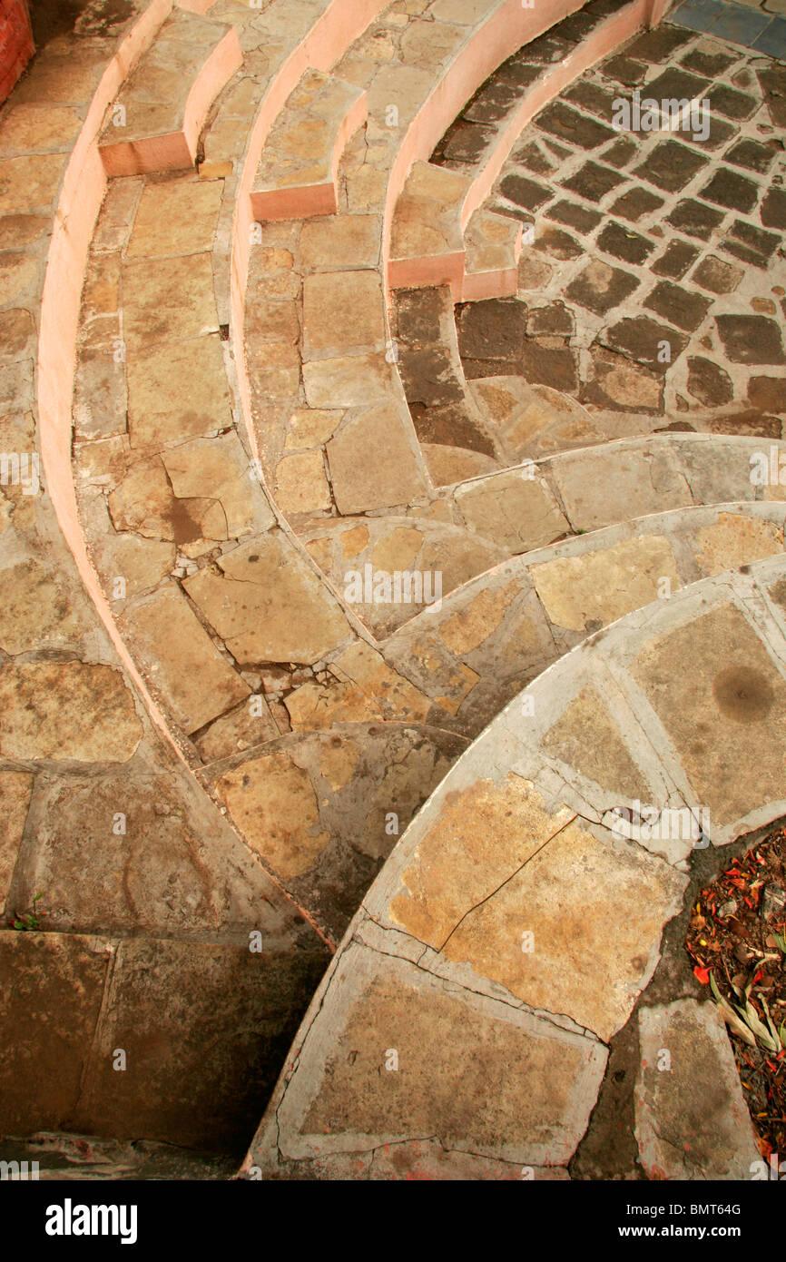 Resumen de pasos en forma de patrón semicircular Foto de stock