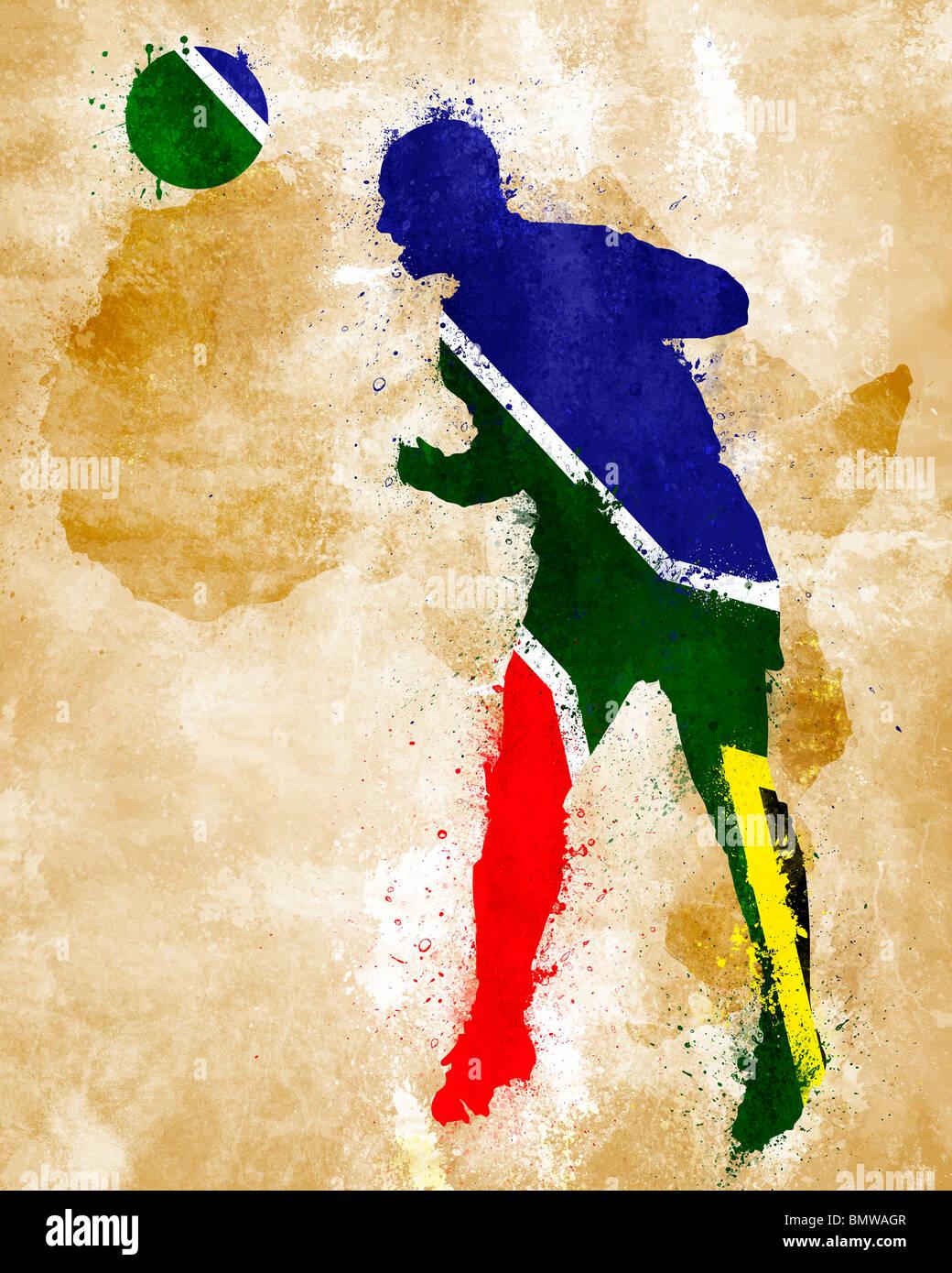 Un jugador de fútbol con bandera sudafricana pintado Foto de stock