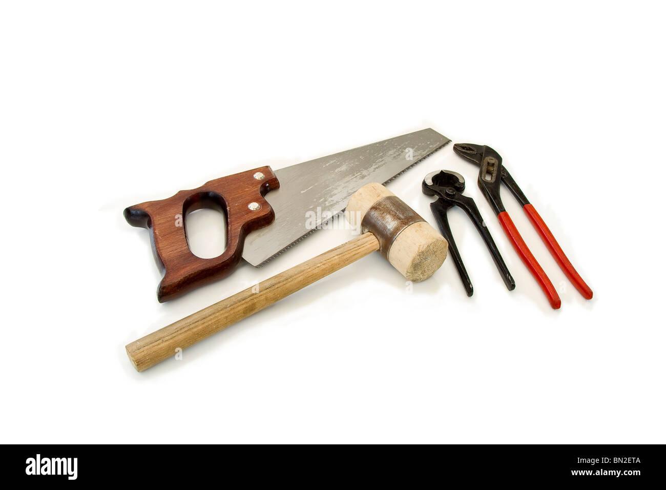 Algunas herramientas sobre fondo blanco. Foto de stock