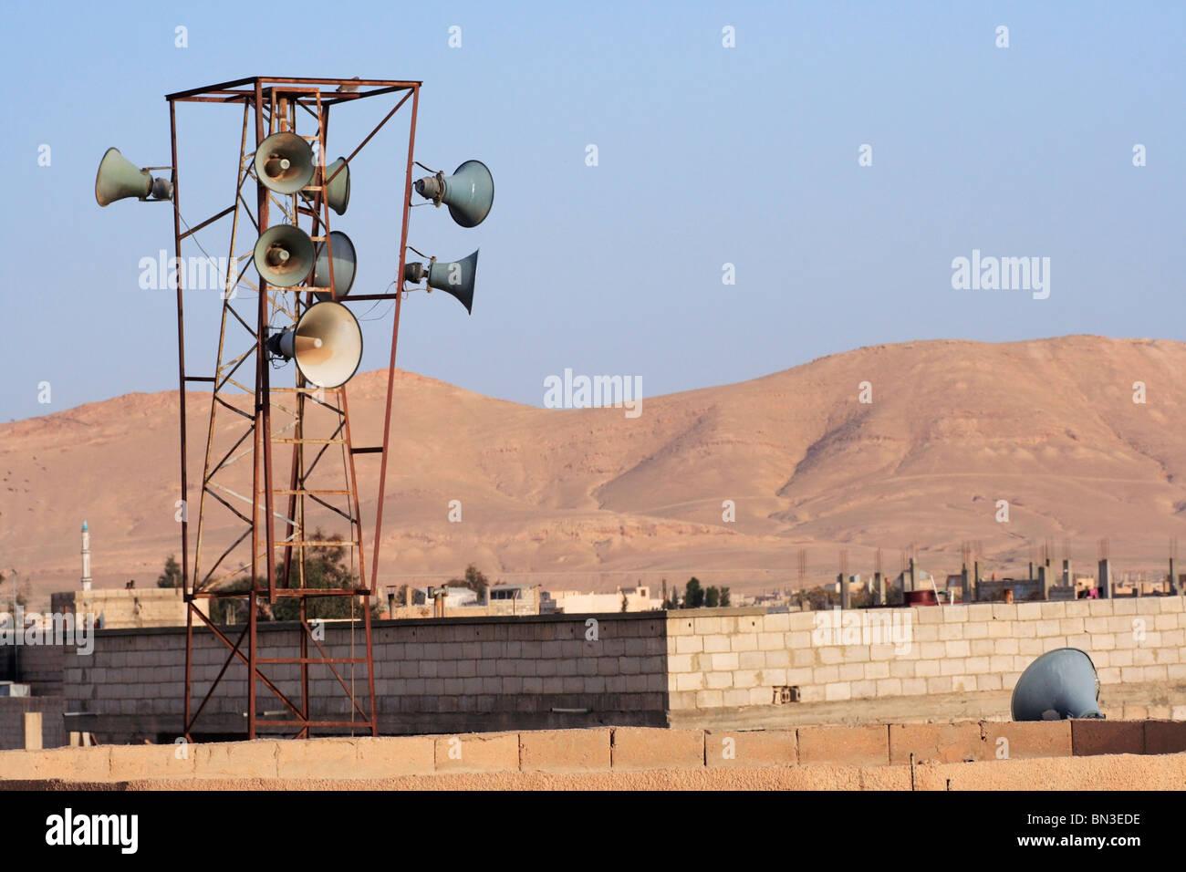 Altavoces para el almuédano llamada a la oración en Damasco, Siria. Foto de stock